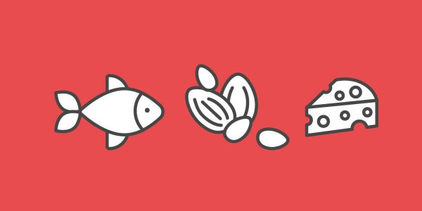 Cartoon icons of a fish, nuts and cheese
